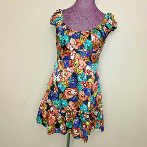 Nanette Lepore Silk Floral Babydoll Mini Dress